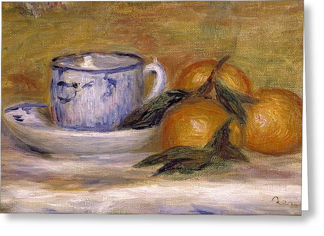 Cup Greeting Cards - Still Life, C.1908 Greeting Card by Pierre Auguste Renoir