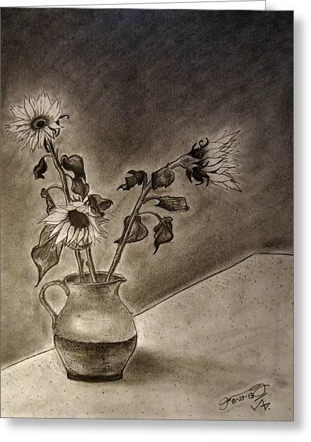Still Life With Pitcher Drawings Greeting Cards - Still life Ceramic Pitcher with Three Sunflowers Greeting Card by Jose A Gonzalez Jr