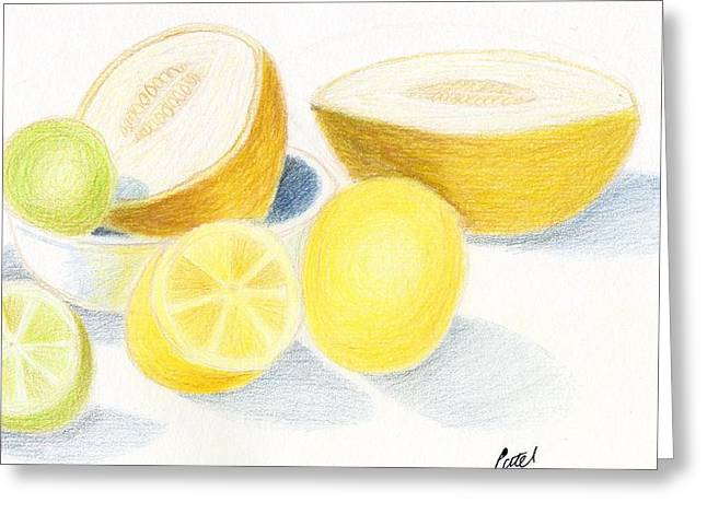 Melon Drawings Greeting Cards - Still Life - Citrus Fruit with Melons Greeting Card by Bav Patel