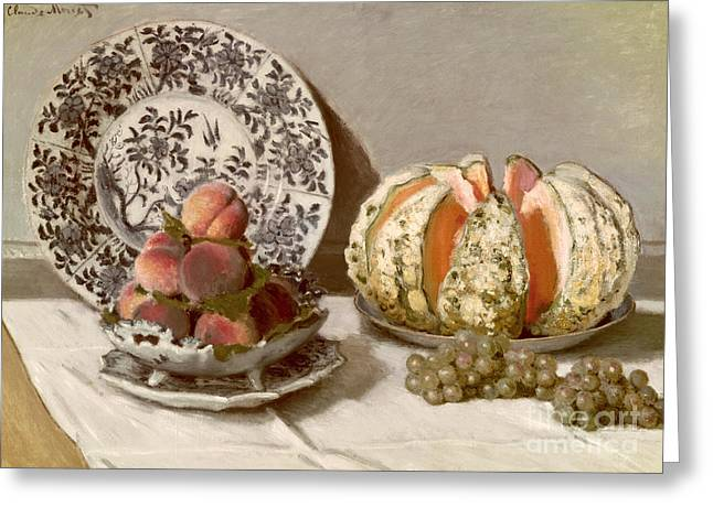 Melon Paintings Greeting Cards - Still Life Greeting Card by Claude Monet