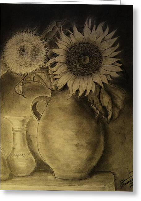 Pa Drawings Greeting Cards - Still Life Clay Pot with Two Sunflowers Greeting Card by Jose A Gonzalez Jr