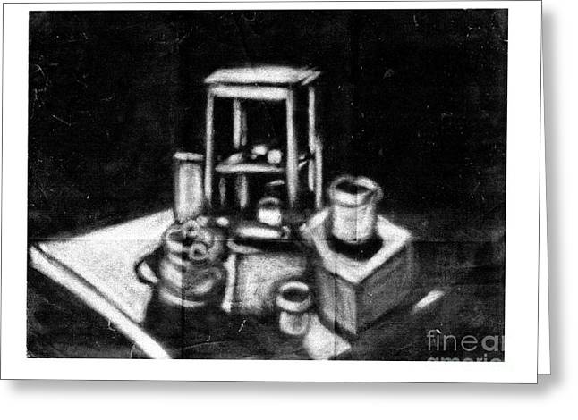 Reverse Drawings Greeting Cards - Still Life Greeting Card by Dave Atkins