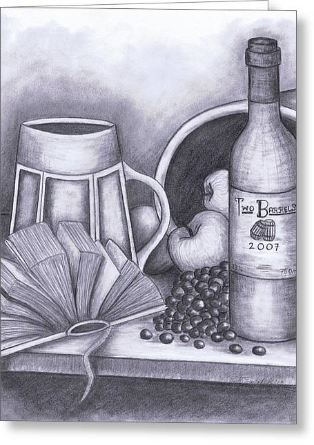 Table Wine Drawings Greeting Cards - Still Life Drawing Greeting Card by Kamil Swiatek