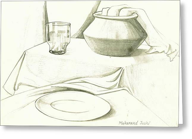 Work Place Drawings Greeting Cards - Still life drawing with an earthen pot n glass n a plate Greeting Card by Makarand Joshi