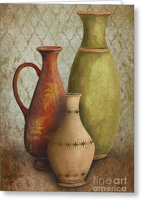 Pottery Pitcher Paintings Greeting Cards - Still Life-E Greeting Card by Jean Plout
