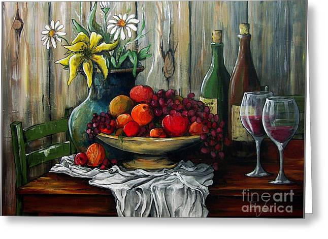Recently Sold -  - Table Wine Greeting Cards - Still Life -Feast your Eyes Greeting Card by Eloa Jane