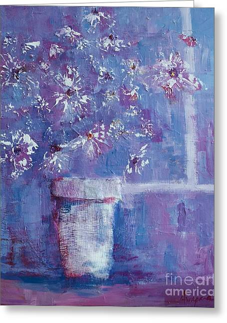 Patio Decor Greeting Cards - Still Life Flowers under Purple Light Greeting Card by Patricia Awapara