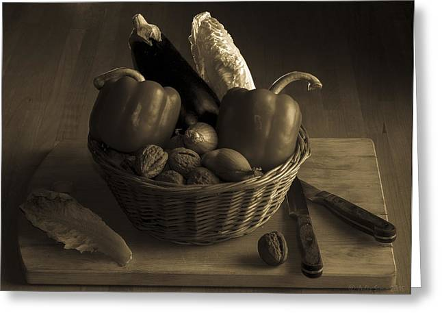 Menu Greeting Cards - Still Life for a Vegetarian in Monochrome Greeting Card by Julis Simo