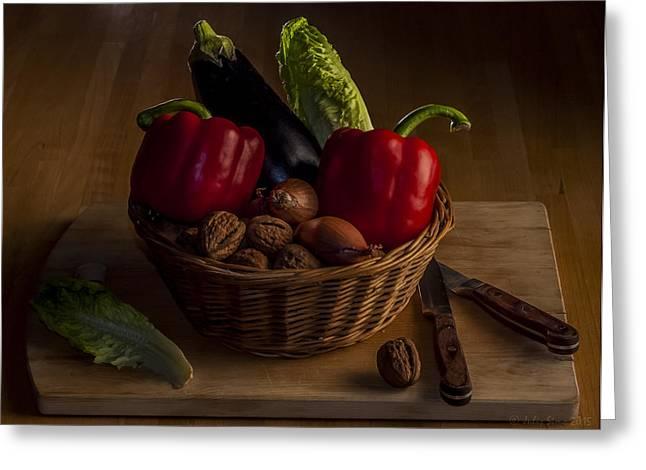 Menu Greeting Cards - Still Life for a Vegetarian Greeting Card by Julis Simo