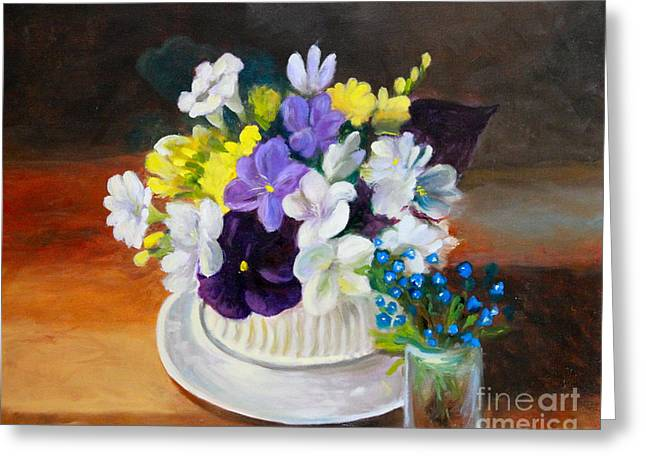 Still Life Freesias and Pansies Greeting Card by Sherrill McCall