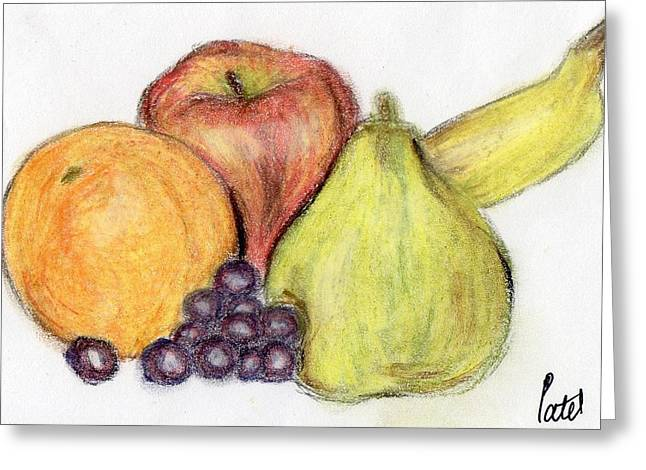 Fresh Green Pastels Greeting Cards - Still Life - Fruit Greeting Card by Bav Patel