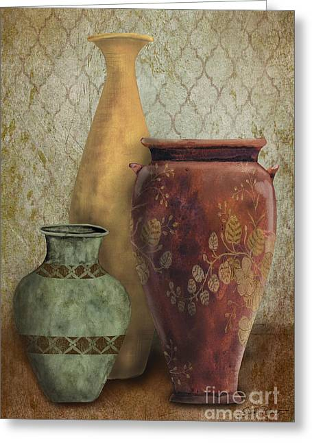 Pottery Pitcher Paintings Greeting Cards - Still Life-G Greeting Card by Jean Plout