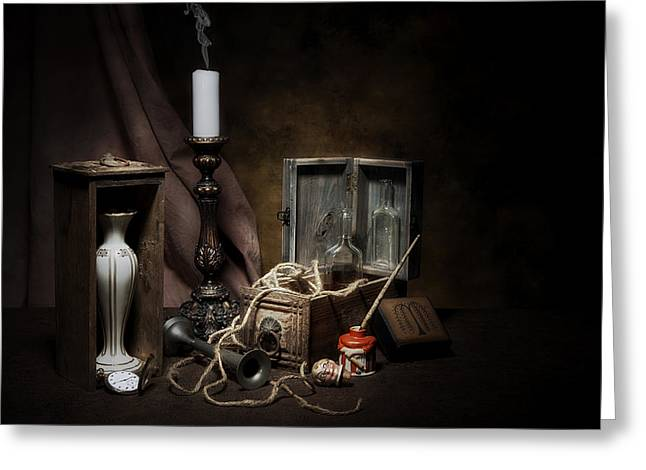 Twine Greeting Cards - Still Life - General Vintage Items Greeting Card by Tom Mc Nemar