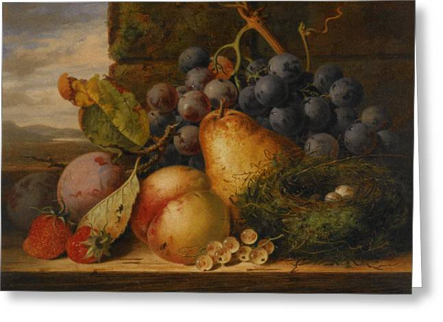Fruit And Wine Digital Greeting Cards - Still Life Grapes Pares Birds Nest Greeting Card by Edward Ladell