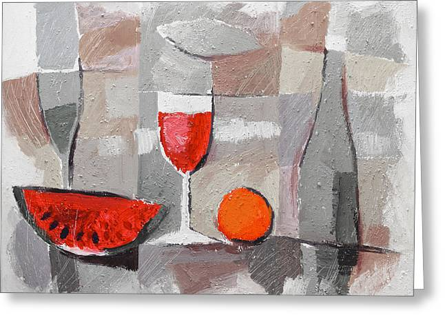 Dinner Table Greeting Cards - Still Life Grey Greeting Card by Lutz Baar