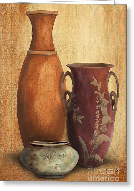 Pottery Pitcher Paintings Greeting Cards - Still Life-H Greeting Card by Jean Plout