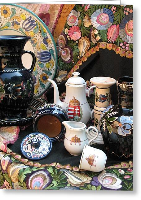 Andrea Lazar Greeting Cards - Still life Hungarian embroidery pottery fine china Magyar Applied Arts Greeting Card by  Andrea Lazar