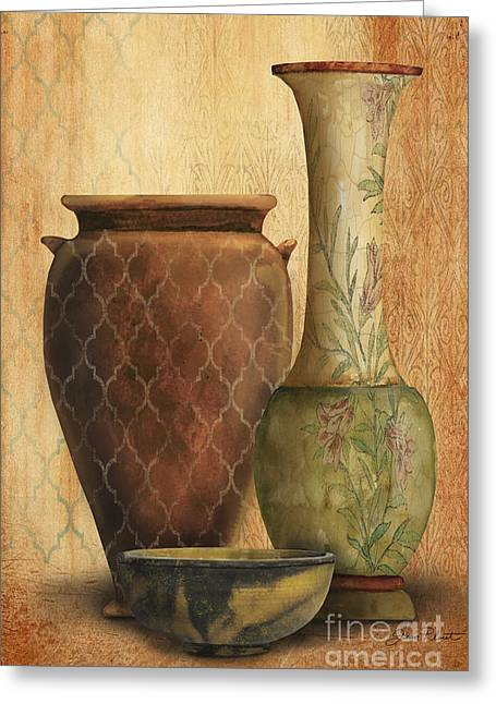 Pottery Pitcher Paintings Greeting Cards - Still Life-I Greeting Card by Jean Plout
