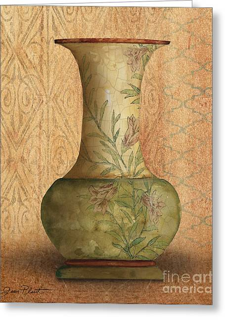 Pottery Pitcher Paintings Greeting Cards - Still Life-IA Greeting Card by Jean Plout