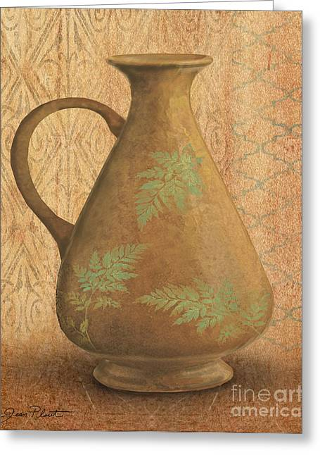 Pottery Pitcher Paintings Greeting Cards - Still Life-ID Greeting Card by Jean Plout