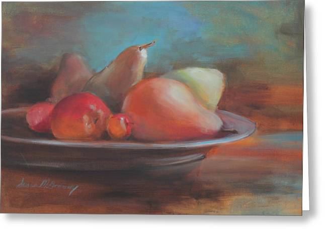 Shadows On Apples Greeting Cards - Still Life II Greeting Card by Susan Bradbury
