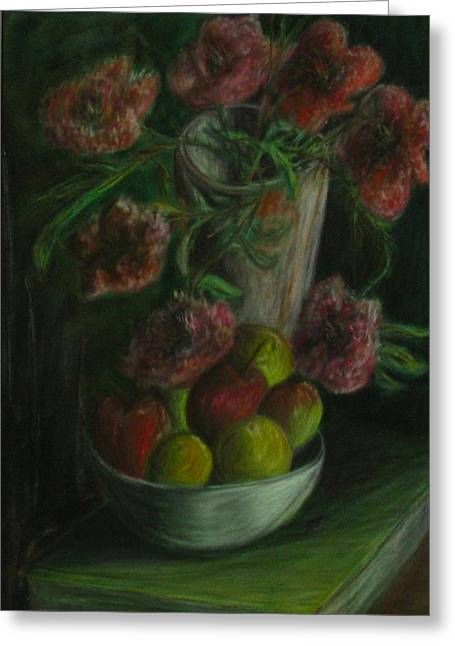 Michael Pastels Greeting Cards - Still Life in a Dark Room Greeting Card by Michael Anthony Edwards