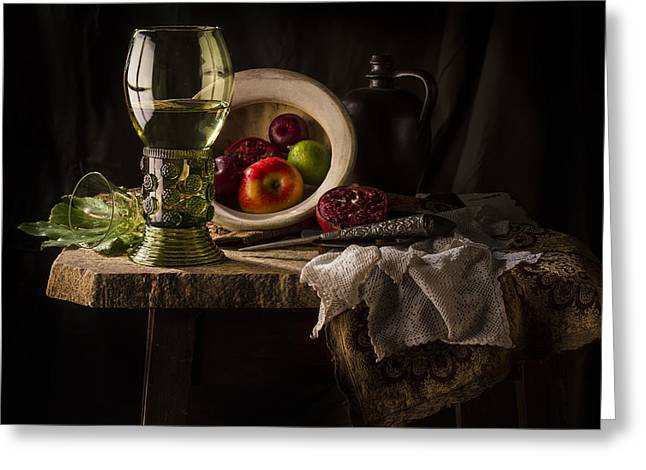 Flagon Greeting Cards - Still Life in Red and Green Greeting Card by Jon Wild