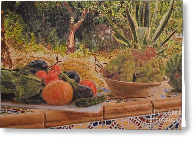 Lettuce Mixed Media Greeting Cards - Still life in Spain Greeting Card by Brian Boyle
