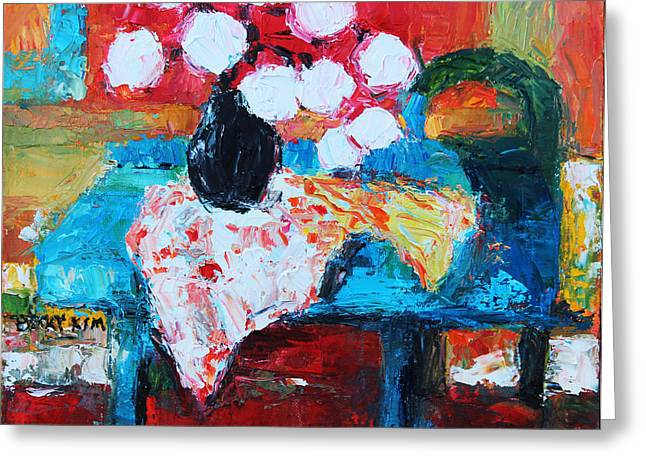 Pallet Knife Greeting Cards - Still life in Studio 1 Greeting Card by Becky Kim