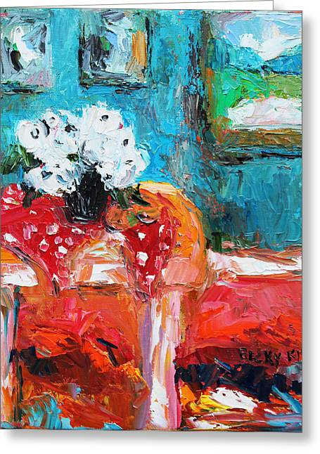 Pallet Knife Greeting Cards - Still Life in Studio 3 Greeting Card by Becky Kim