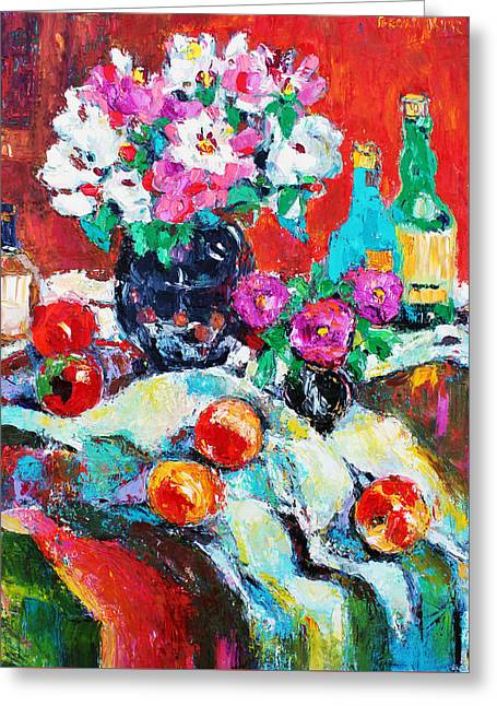 Pallet Knife Greeting Cards - Still Life in Studio with Blue Bottle Greeting Card by Becky Kim