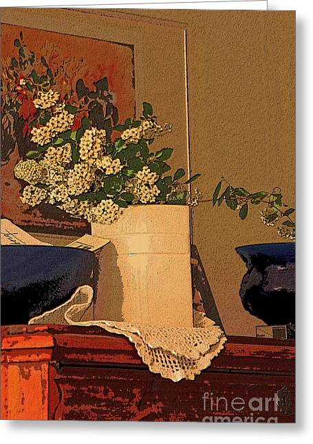 Floral Greeting Cards - Still Life in Tea Greeting Card by Alison Gunn
