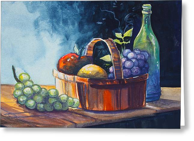 Fruit And Wine Greeting Cards - Still Life in Watercolours Greeting Card by Karon Melillo DeVega