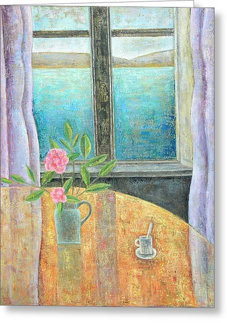 Interior Scene Photographs Greeting Cards - Still Life In Window With Camellia, 2012, Oil On Canvas Greeting Card by Ruth Addinall