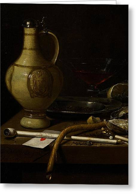 Smoker Greeting Cards - Still Life Greeting Card by Jan Jansz van de Velde