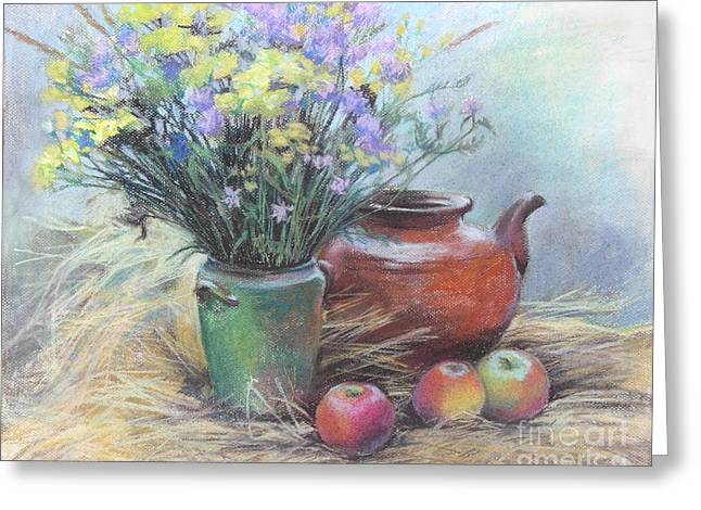 Vase Of Flowers Pastels Greeting Cards - Still life Greeting Card by Julia Mikhailiuk