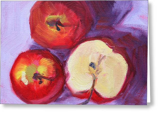 Apple Paintings Greeting Cards - Still Life Kitchen Apple Painting Greeting Card by Nancy Merkle