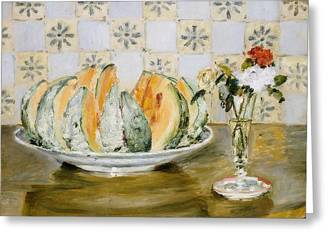 Melon Paintings Greeting Cards - Still Life of a Melon and a Vase of Flowers Greeting Card by Pierre Auguste Renoir