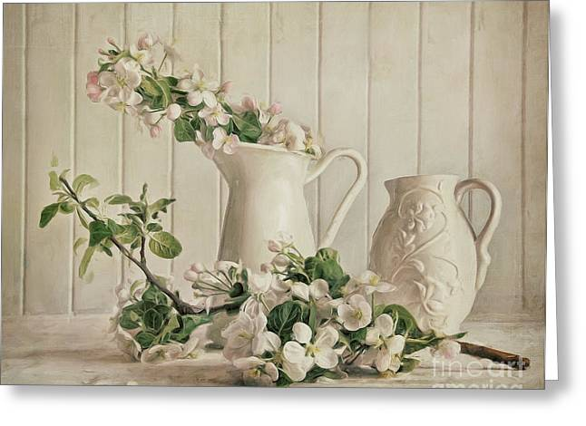 Pink Flower Branch Digital Art Greeting Cards - Apple blossom flowers in vase/digital painting Greeting Card by Sandra Cunningham