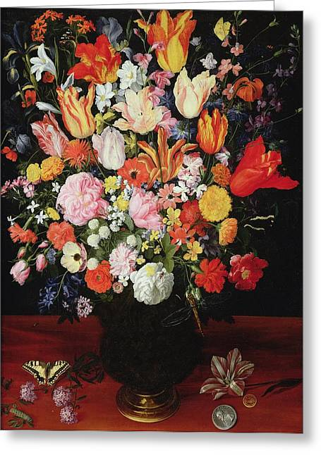 Swallow Tail Greeting Cards - Still Life Of Flowers, 1610s Oil On Panel Greeting Card by Kasper or Gaspar van den Hoecke