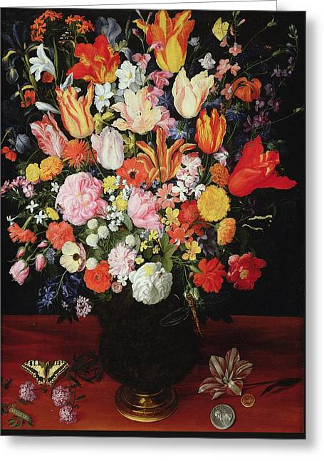 Still Life Of Flowers Greeting Card by Kasper or Gaspar van den Hoecke