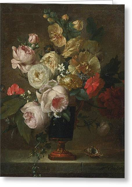 Vase Of Flowers Greeting Cards - Still Life Of Flowers Greeting Card by Anne Vallayer-coster