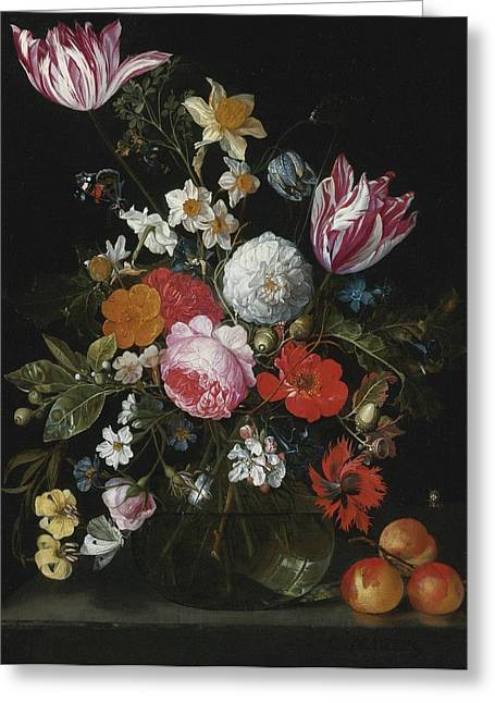 Vase Of Flowers Greeting Cards - Still Life Of Flowers In A Glass Vase Greeting Card by Celestial Images