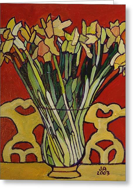 Vase Of Flowers Mixed Media Greeting Cards - Still Life of Flowers Greeting Card by Janet Ashworth