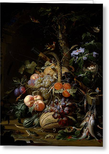 Fishing Rods Photographs Greeting Cards - Still Life Of Fruit Greeting Card by Abraham Mignon