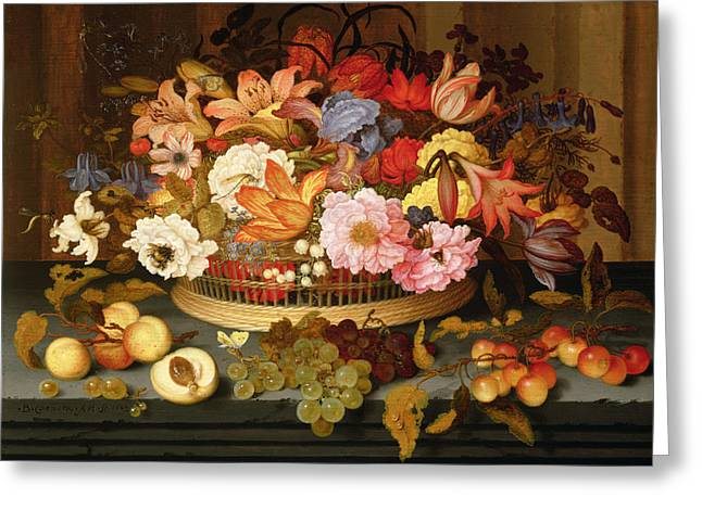 Ledge Photographs Greeting Cards - Still Life Of Fruit And A Basket Of Flowers, 1623 Oil On Panel Greeting Card by Balthasar van der Ast