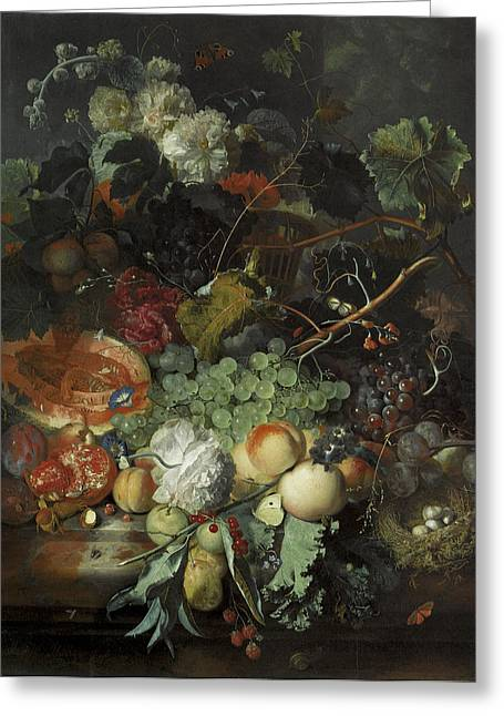 Basket Of Flowers Greeting Cards - Still Life of Fruit birds nest and basket of flowers Greeting Card by Jan Van Huysum