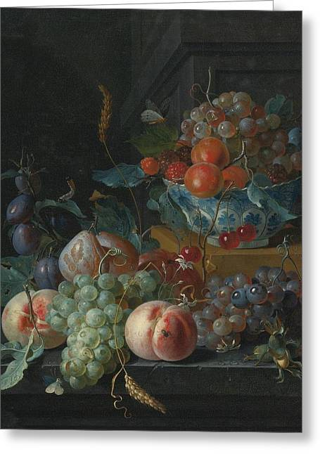 Ledge Greeting Cards - Still Life Of Fruit On A Ledge Greeting Card by Coenraet Roepel