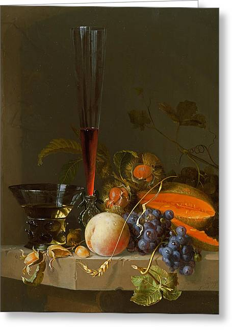 Wineglasses Greeting Cards - Still Life Of Fruit On A Ledge With A Roemer And A Wine Glass Greeting Card by Jacob van Walscapelle