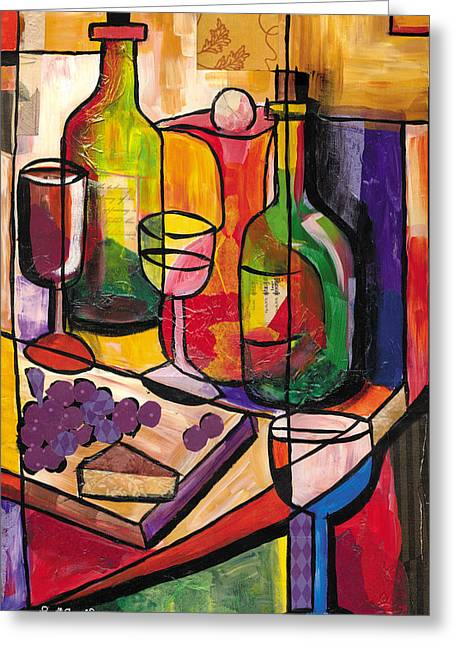 Romare Bearden Mixed Media Greeting Cards - Still Life of Fruit Wine and Cheese 2009 Greeting Card by Everett Spruill